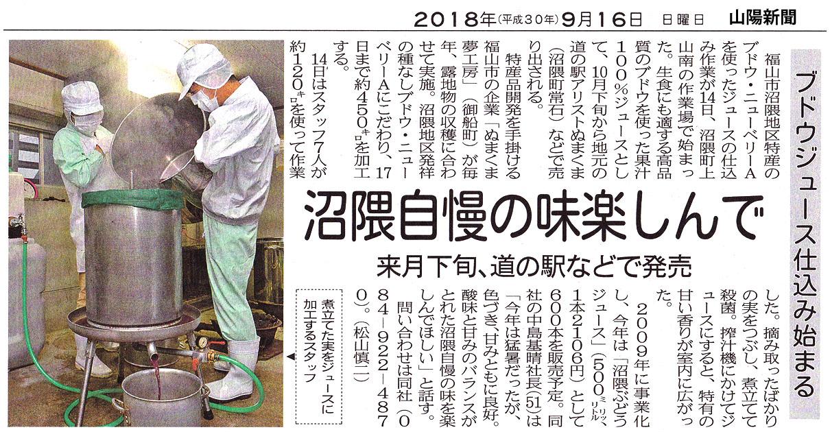 沼隈ぶどうジュース 180916 山陽新聞